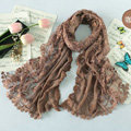 High end fashion embroidery flower lace silk long scarf shawl women wrap scarves - Coffee