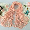 High end fashion embroidery flower lace silk long scarf shawl women wrap scarves - Pink