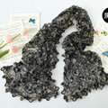 High end fashion embroidery flower lace silk scarf shawl women hollow wrap scarves - Black