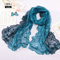 High end fashion embroidery flower lace silk scarf shawl women long gradient wrap scarves - Blue