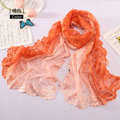 High end fashion embroidery flower lace silk scarf shawl women long gradient wrap scarves - Orange