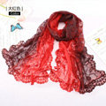 High end fashion embroidery flower lace silk scarf shawl women long gradient wrap scarves - Red