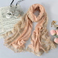 High end fashion embroidery flower lace silk scarf shawl women long wrap scarves - Beige