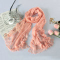 High end fashion embroidery flower lace silk scarf shawl women long wrap scarves - Pink