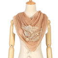 High end fashion flower triangle silk scarf shawl women soft thin wrap scarves - Khaki