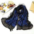 High end fashion long 100% silk scarf shawl women warm diamond wrap scarves - Blue