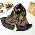 High end fashion long 100% silk scarf shawl women warm diamond wrap scarves - Khaki