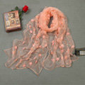 High end fashion long flower mulberry silk scarf shawl women soft thin wrap scarves - Orange