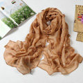 High end fashion long flower mulberry silk scarf shawl women soft wrap scarves - Khaki