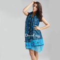 High-end fashion long flower scarf shawl women warm lace chiffon wrap scarves - Blue
