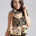 High-end fashion long flower scarf shawl women warm lace chiffon wrap scarves - Khaki