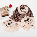 High-end fashion long flower scarf shawl women warm lace chiffon wrap scarves - Pink