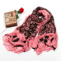 High-end fashion long flower scarf shawl women warm lace chiffon wrap scarves - Red