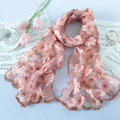 High end fashion sequin embroidery flower lace silk scarf shawl women wrap scarves - Pink