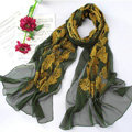 High-end fashion women 100% mulberry silk long embroidery scarf shawl wrap - Green