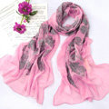 High-end fashion women 100% mulberry silk long embroidery scarf shawl wrap - Pink