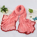 High-end fashion women real silk long soft solid color scarf shawl wrap - Pink