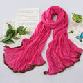 High-end fashion women real silk long soft solid color scarf shawl wrap - Rose