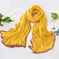 High-end fashion women real silk long soft solid color scarf shawl wrap - Yellow