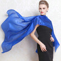 Luxury women autumn and winter long 100% mulberry silk solid color scarf shawl wrap - Blue