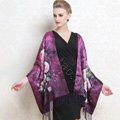 Luxury women autumn and winter warm long 100% mulberry silk flower print scarf shawl wrap - Purple