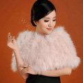 Ostrich wool fur scarf shawls vogue women bridal tippet winter warm neck wraps - Light Pink