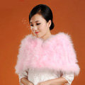 Ostrich wool fur scarf shawls vogue women bridal tippet winter warm neck wraps - Pink