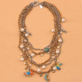 Fashion women choker exaggeration luxury crystal multilayer pears bib necklace - Gold