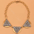 High-end fashion women choker exaggeration luxury crystal Triangle bib necklace - Gold