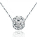 925 sterling silver solid ball bead pendant necklace ingot chain 16 inch 40cm