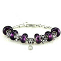 Luxury fashion diamond flower glass beads women bangle bracelet 18K white gold GP - Purple 09
