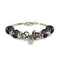 Luxury fashion diamond flower glass beads women bangle bracelet 18K white gold GP - Purple 26