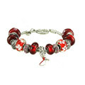 Luxury fashion diamond glass beads women bangle bracelet 18K white gold plated - Red 07