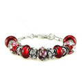 Luxury fashion diamond glass beads women bangle bracelet 18K white gold plated - Red 13