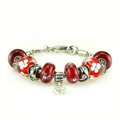 Luxury fashion diamond glass beads women bangle bracelet 18K white gold plated - Red 23
