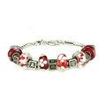 Luxury fashion diamond glass beads women bangle bracelet 18K white gold plated - Red 32