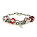 Luxury fashion diamond glass beads women bangle bracelet 18K white gold plated - Red 48