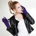 Allfond Women winter touch screen gloves stretch cotton warm business casual solid color gloves - Purple