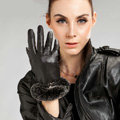 Allfond Women winter waterproof cold-proof warm rex rabbit fur genuine goatskin leather gloves L - Black