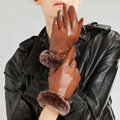 Allfond Women winter waterproof cold-proof warm rex rabbit fur genuine goatskin leather gloves L - Brown