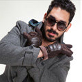 Allfond fashion men winter cold-proof plus velvet warm genuine pigskin clipping leather gloves - Coffee