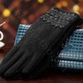 Allfond fashion women touch screen gloves stretch cotton lace winter warm business gloves - Black