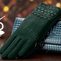 Allfond fashion women touch screen gloves stretch cotton lace winter warm business gloves - Green