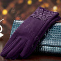 Allfond fashion women touch screen gloves stretch cotton lace winter warm business gloves - Purple