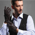 Allfond men business button winter waterproof cold-proof warm goatskin leather gloves L - Coffee