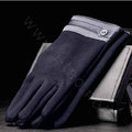 Allfond men touch screen gloves stretch cotton grid button winter warm business casual gloves - Blue