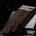 Allfond men touch screen gloves stretch cotton grid button winter warm business casual gloves - Coffee
