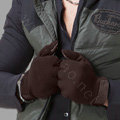 Allfond men touch screen gloves stretch cotton grid winter warm business casual gloves - Coffee