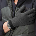 Allfond men touch screen gloves stretch cotton grid winter warm business casual gloves - Gray