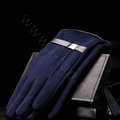 Allfond men winter touch screen gloves stretch cotton warm business casual solid color gloves - Blue